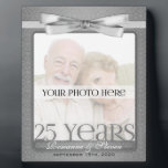 """Silver 25th Wedding Anniversary 8x10 Photo Frame<br><div class=""""desc"""">Lovely gift for the silver anniversary couple. Add a recent photo or wedding photo,  their names and the date of their 25th Wedding Anniversary. Done in an elegant silver print and bow. Great anniversary gift.</div>"""
