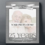 "Silver 25th Wedding Anniversary 8x10 Photo Frame<br><div class=""desc"">Lovely gift for the silver anniversary couple. Add a recent photo or wedding photo,  their names and the date of their 25th Wedding Anniversary. Done in an elegant silver print and bow. Great anniversary gift.</div>"
