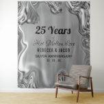 "Silver 25th Wedding Anniversary Backdrop<br><div class=""desc"">Molten Liquid Silver Metal with a Satin Feel.</div>"