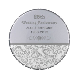 Silver 25th Wedding Anniversary Candy Tins