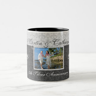 Silver 25th Wedding Anniversary Damask Photo Two-Tone Coffee Mug