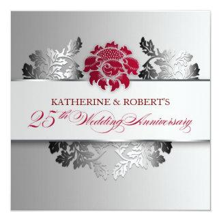 silver 25th wedding anniversary elegant invitation