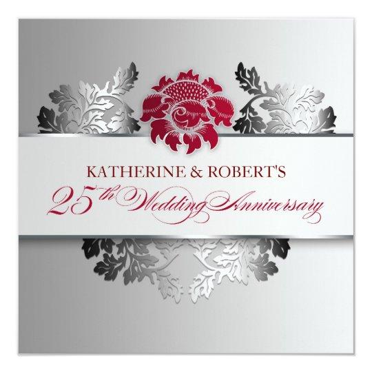 Elegant Silver Wedding Invitations: Silver 25th Wedding Anniversary Elegant Invitation