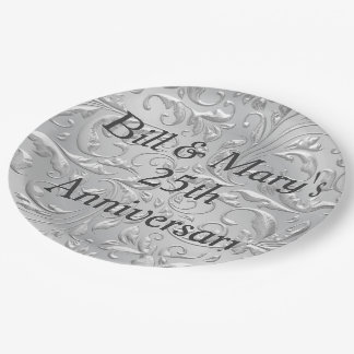 Silver 25th Wedding Anniversary Party Paper Plates