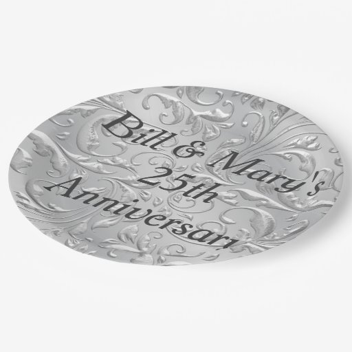 Silver 25th Wedding Anniversary Party Paper Plates Zazzle