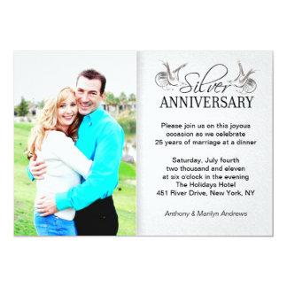 silver 25th wedding anniversary photo invitations