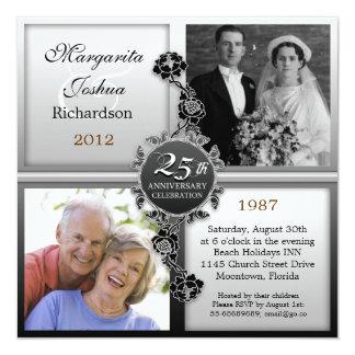silver 25th wedding anniversary photos invitations