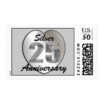 Silver 25th Wedding Anniversary Postage Stamps