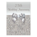 Silver 25th Wedding Anniversary Sequins and Bow 5x7 Paper Invitation Card
