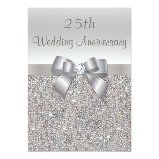 Great Silver 25th Wedding Anniversary Sequins And Bow Card