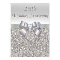 Silver 25th Wedding Anniversary Sequins and Bow Invitation