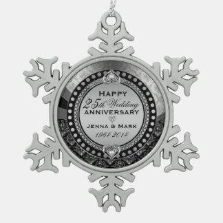 Silver 25th Wedding Anniversary Snowflake Pewter Christmas Ornament