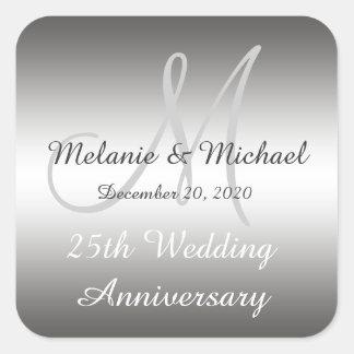 Silver 25th Wedding Anniversary Stickers