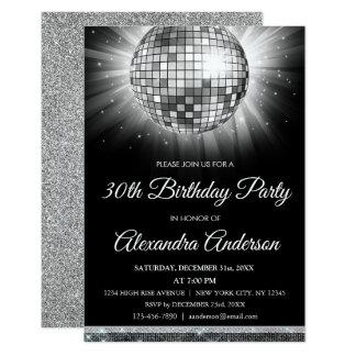 Silver 30th Birthday Party Disco Dance Ball Card