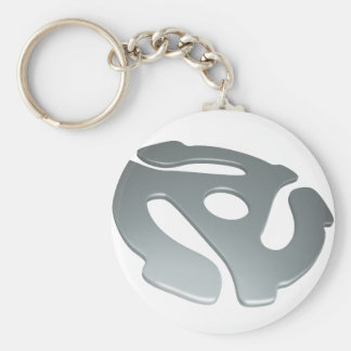 Silver 3D 45 RPM Adapter Basic Round Button Keychain