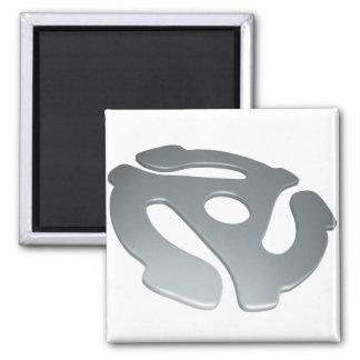 Silver 3D 45 RPM Adapter Refrigerator Magnet