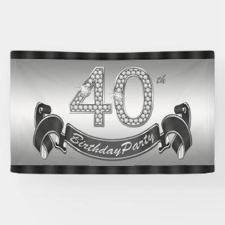 Silver 40th Birthday Party Banner