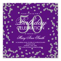 Silver 50th Birthday Glitter Confetti Purple Card
