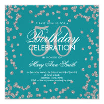 Silver 50th Birthday Glitter Confetti Teal Card