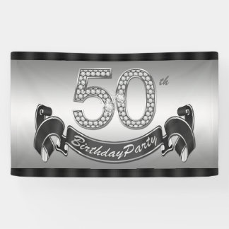 Silver 50th Birthday Party Banner