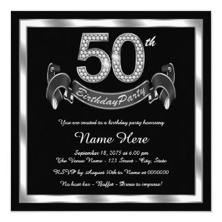 Silver 50th Birthday Party Card
