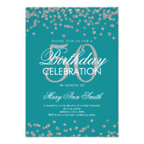 Silver 50th Birthday Party Glitter Confetti Teal Card