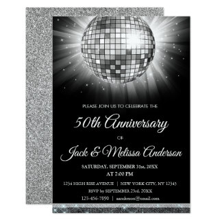 Silver 50th Birthday Party Gold Disco Ball Card
