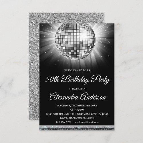 Silver 50th Birthday Party Silver Disco Ball Invitation