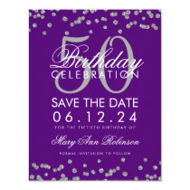 Silver 50th Birthday Save Date Confetti Purple Card