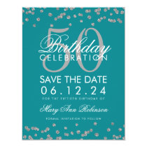 Silver 50th Birthday Save Date Confetti Teal Card