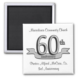 Silver 60th Anniversary Party Favors 2 Inch Square Magnet