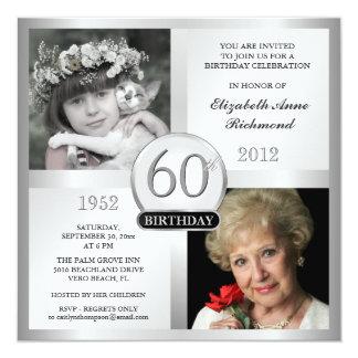"Silver 60th Birthday Invitations Then & Now Photos 5.25"" Square Invitation Card"