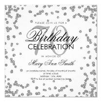 Silver 70th Birthday Elegant Glitter Confetti Card
