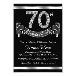 silver 70th birthday invitations zazzle