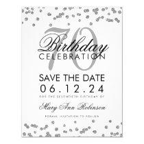 Silver 70th Birthday Save Date Confetti Card