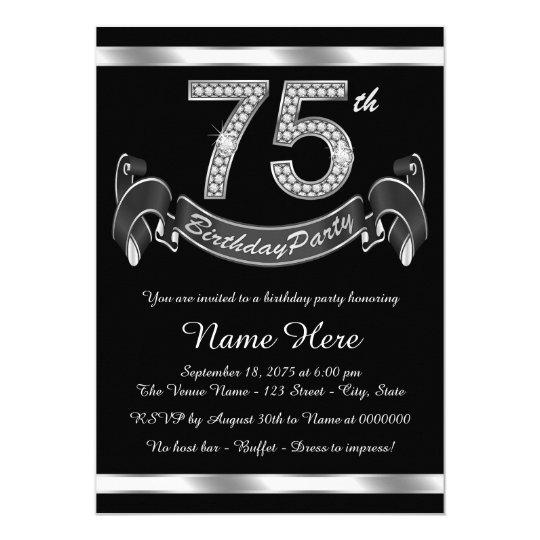 Silver 75th Birthday Party Invitation Zazzle Com