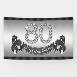 Silver 80th Birthday Party Banner