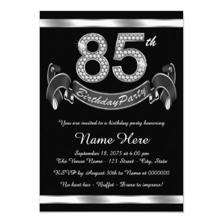 Silver 85th Birthday Party Card