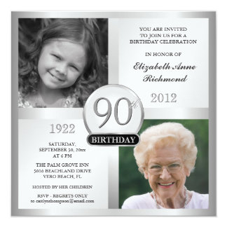Silver 90th Birthday Invitations Then & Now Photos