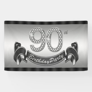 Silver 90th Birthday Party Banner