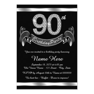 Silver 90th Birthday Party Card