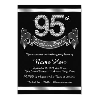Silver 95th Birthday Party Card