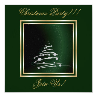 Silver Abstract Christmas Tree On Green Card