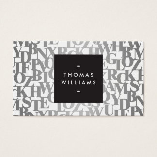 Silver Abstract Letterforms II Authors, Writers Business Card
