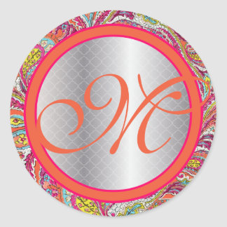 Silver Accents Peacock Paisley Tangerine Hot Pink Classic Round Sticker
