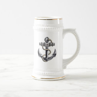 Silver Anchor Beer Stein