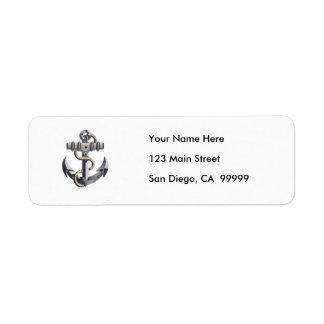 Silver Anchor Custom Return Address Label