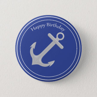 Silver Anchor Nautical Happy Birthday Button