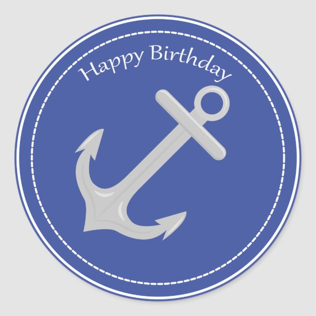 Silver Anchor Nautical Happy Birthday Sticker Zazzlecom