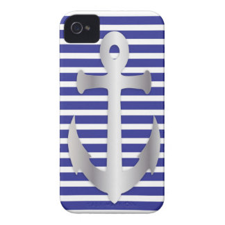 Silver Anchor On Blue & White Stripes iPhone Case